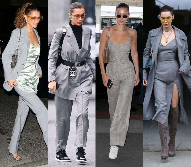 Стиль Беллы Хадид: цвета одежды -  Элегантный серый
