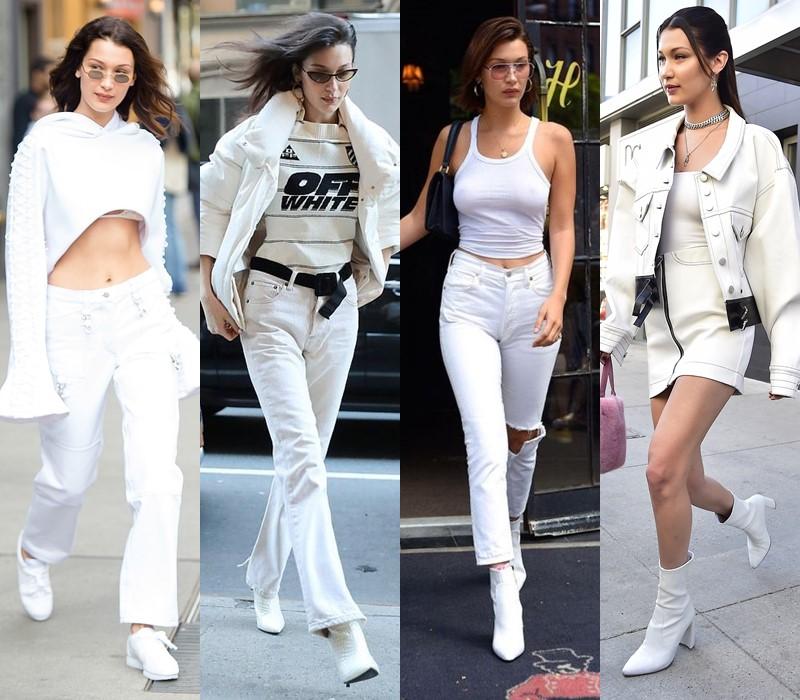 Стиль Беллы Хадид: цвета одежды - Кипенно и молочно-белый