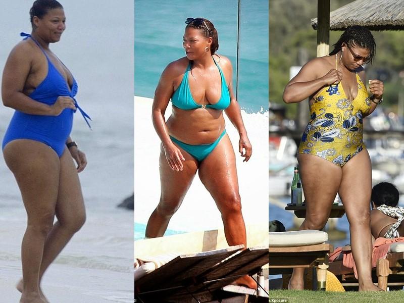 Бодипозитивные: знаменитости на пляже в купальниках - Куин Латифа