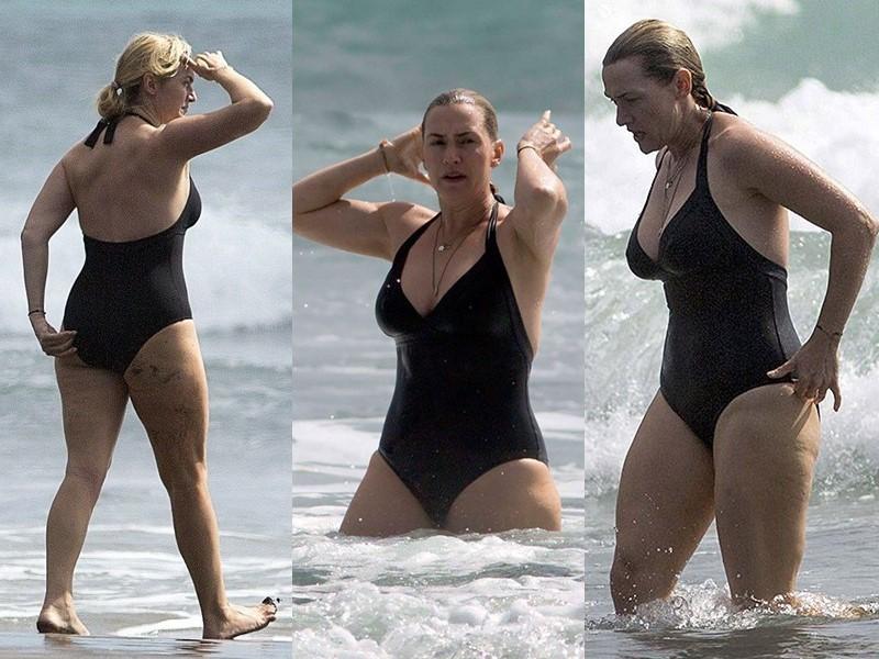 Бодипозитивные: знаменитости на пляже в купальниках - Кейт Уинслет