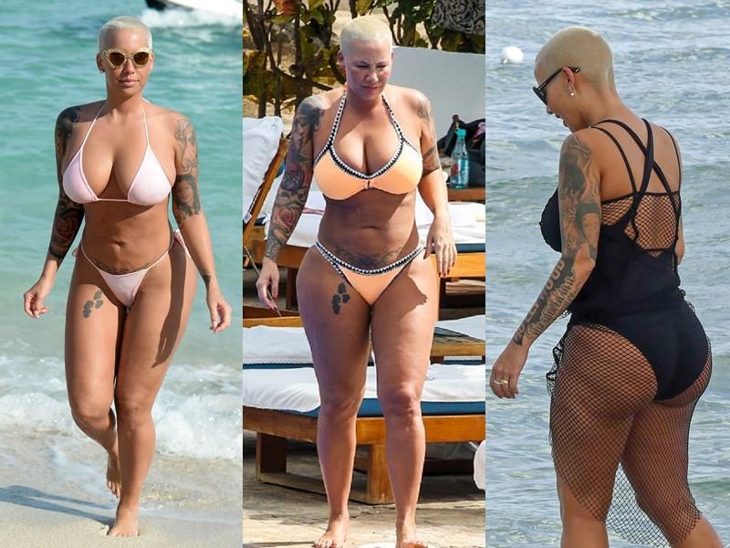 Бодипозитивные: знаменитости на пляже в купальниках - Эмбер Роуз
