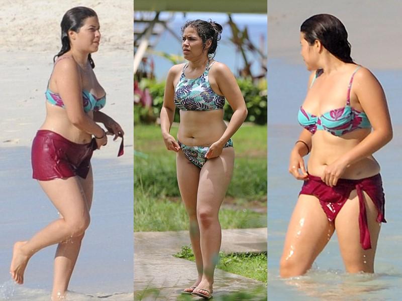 Бодипозитивные: знаменитости на пляже в купальниках - Америка Феррера