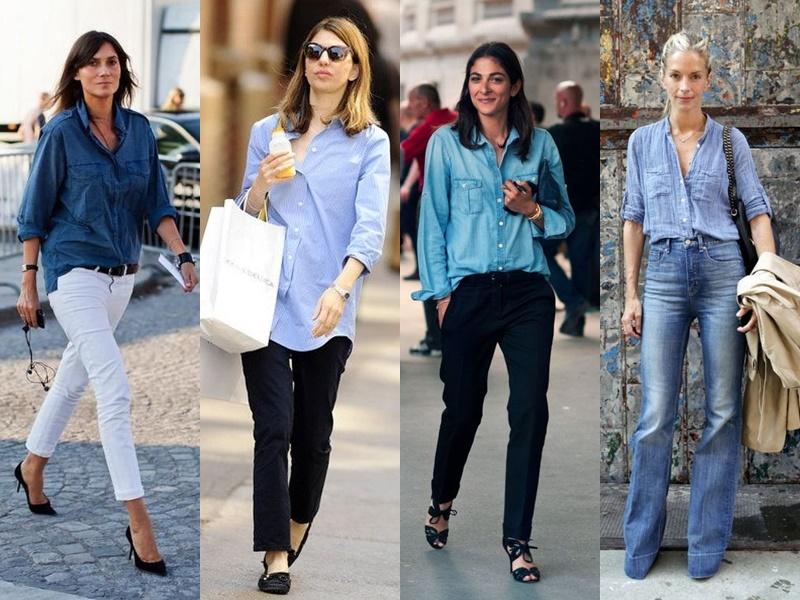 Французский шик: 10 деталей образа стильной парижанки - Базовая голубая рубашка