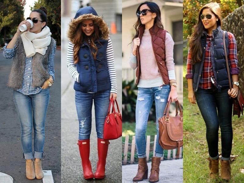 С чем носить джинсы весной и осенью - свитер с тёплой жилеткой