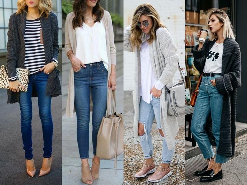 С чем носить джинсы весной и осенью - Длинный кардиган с ботильонами и укороченными джинсами