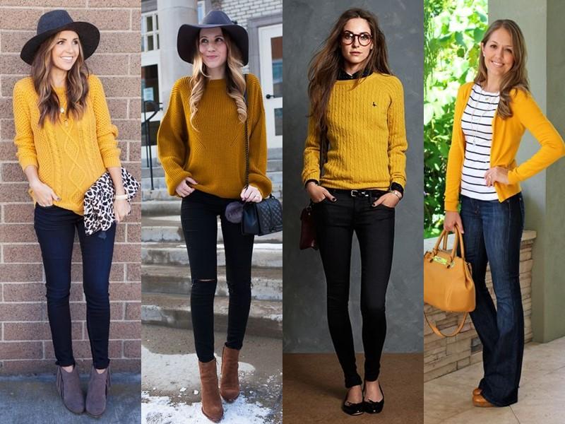 С чем носить джинсы весной и осенью - с жёлтым трикотажным свитером или кардиганом
