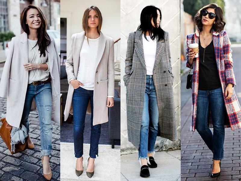 С чем носить джинсы весной и осенью - пальто с молодёжным топом