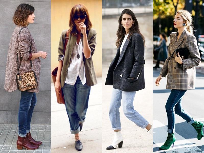 С чем носить джинсы весной и осенью - с жакетом-оверсайз