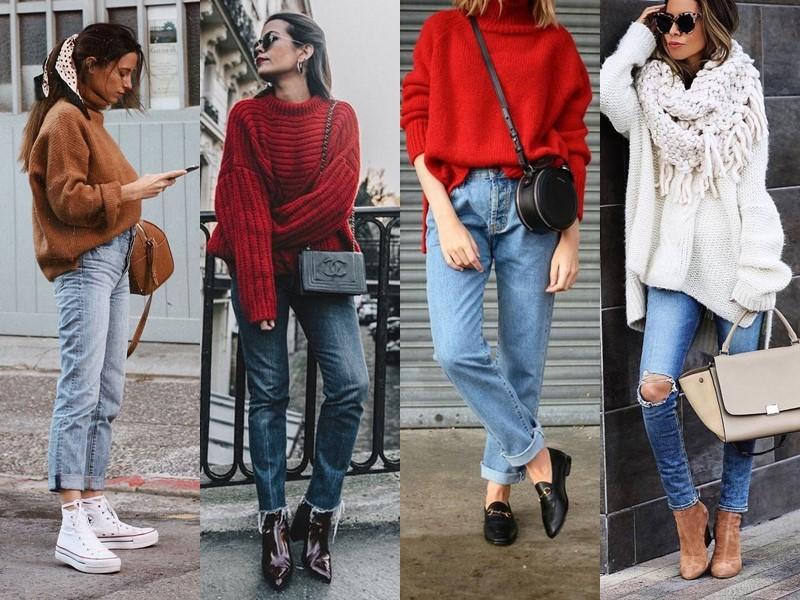 С чем носить джинсы весной и осенью - Объёмный свитер