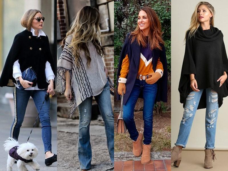 С чем носить джинсы весной и осенью - Кейп или пончо