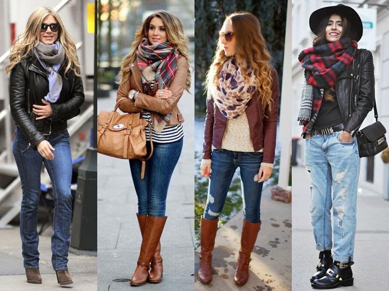 С чем носить джинсы весной и осенью - Кожаная куртка и объёмный шарф