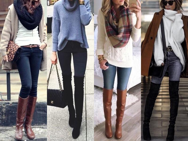 С чем носить джинсы весной и осенью - скинни с сапогами