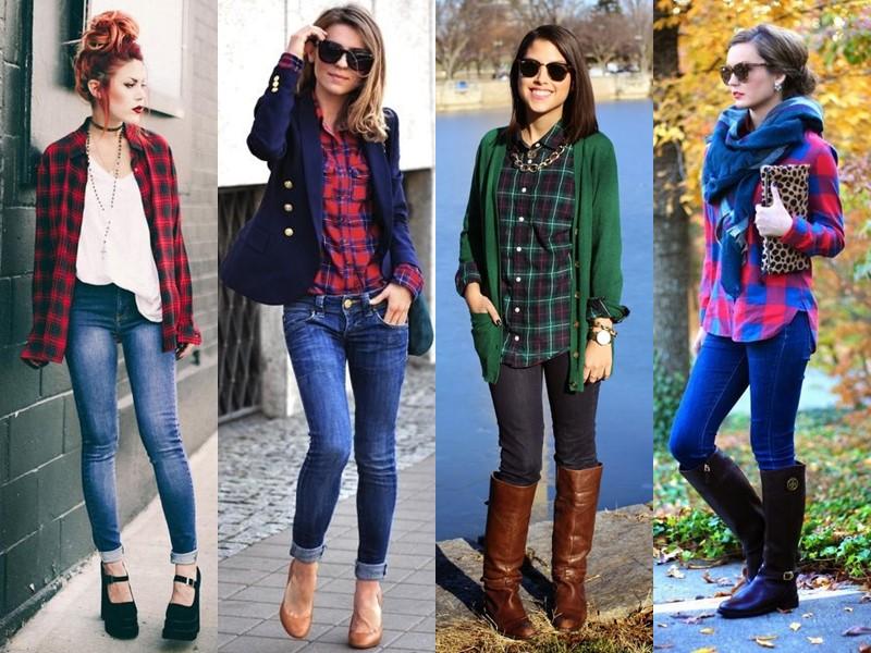 С чем носить джинсы весной и осенью - Рубашка в клетку