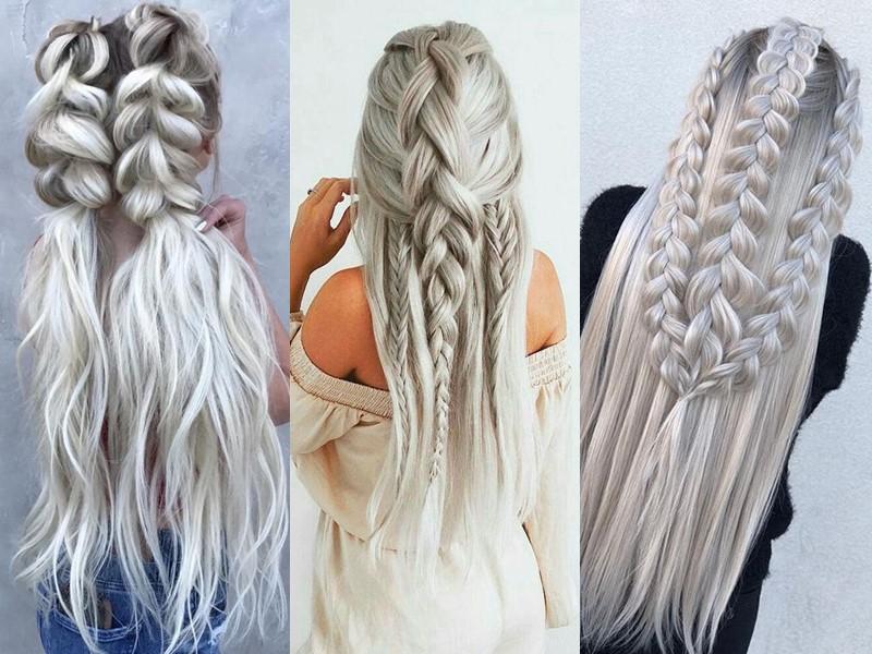 Стили причёсок для платиновых блондинок - Укладки с толстыми косами