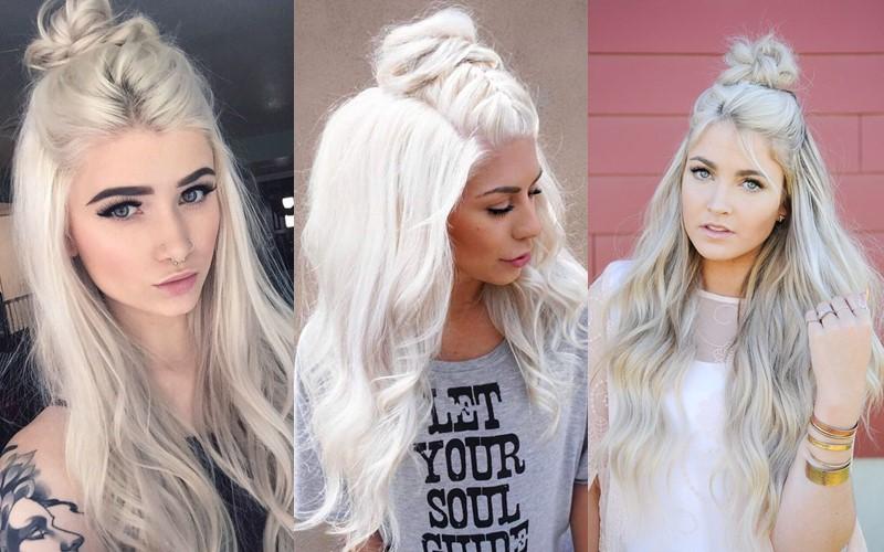 Стили причёсок для платиновых блондинок - Пучок в стиле «Мальвина»