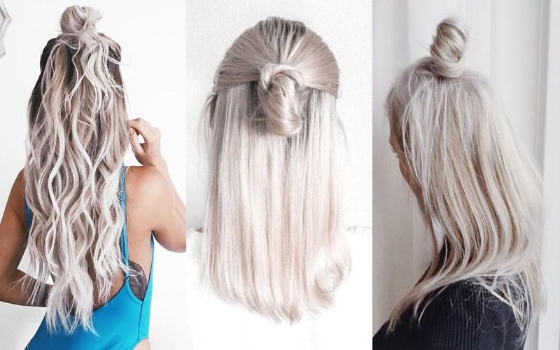 Стили причёсок для платиновых блондинок - высокий пучок в стиле «Мальвина»