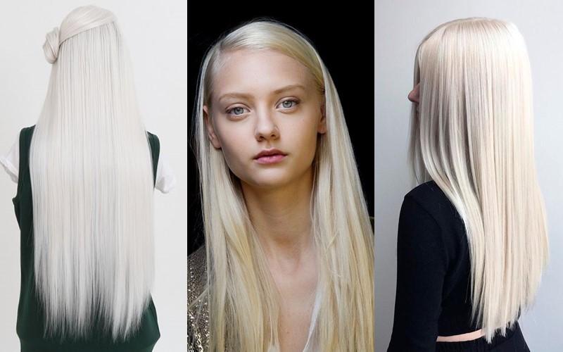 Стили причёсок для платиновых блондинок - Идеально гладкие длинные волосы