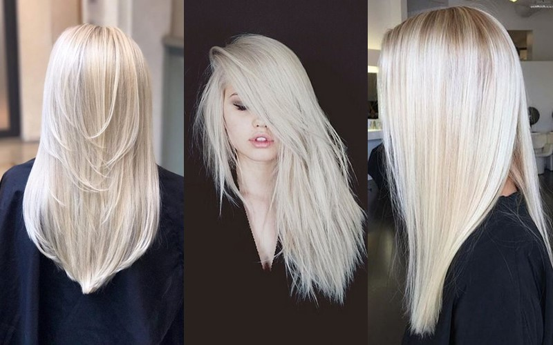 Стили причёсок для платиновых блондинок - прямые гладкие длинные волосы