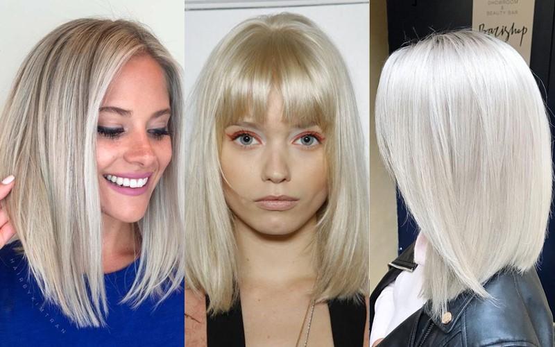Стили причёсок для платиновых блондинок - Гладкий длинный боб