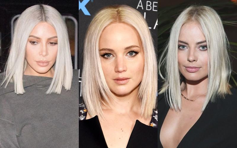 Стили причёсок для платиновых блондинок - Гладкий длинный боб-каре