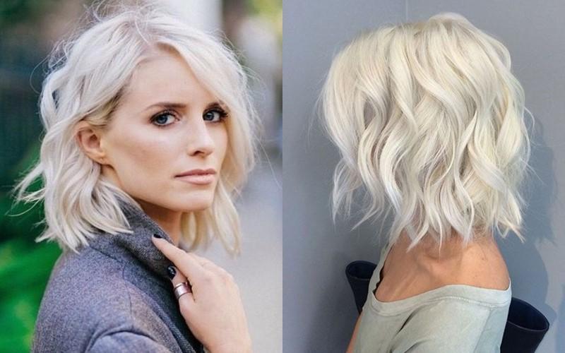 Стили причёсок для платиновых блондинок - Стильный волнистый боб