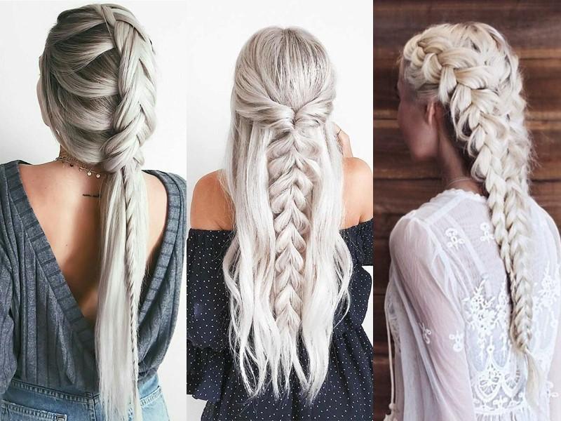 Стили причёсок для платиновых блондинок - Причёски с толстыми косами