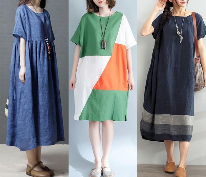 Свободные платья-оверсайз: модные фасоны - Льняные платья-трапеции длины миди