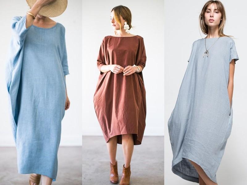 Свободные платья-оверсайз: модные фасоны - Платья-кокон жёсткого кроя