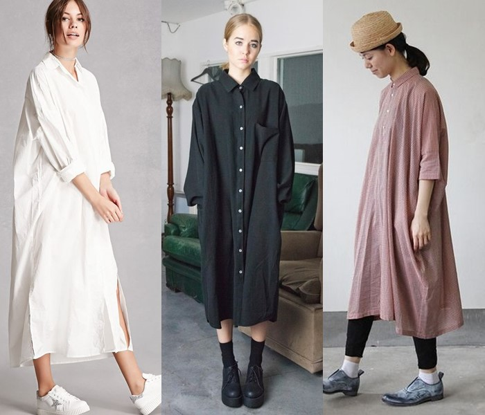 Свободные платья-оверсайз: модные фасоны - Модные платья-рубашки длины миди