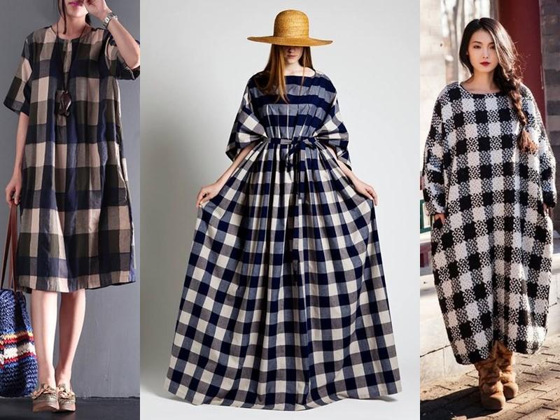 Свободные платья-оверсайз: модные фасоны - Платья-оверсайз в клетку