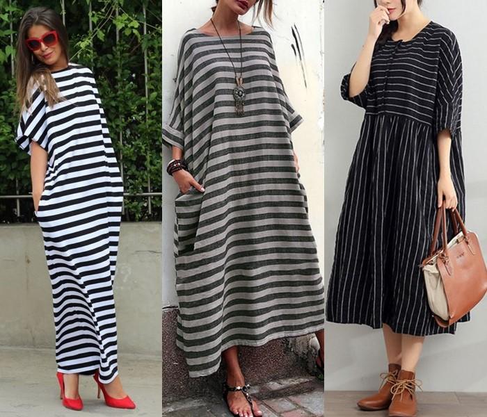 Свободные платья-оверсайз: модные фасоны - Платья-оверсайз в полоску