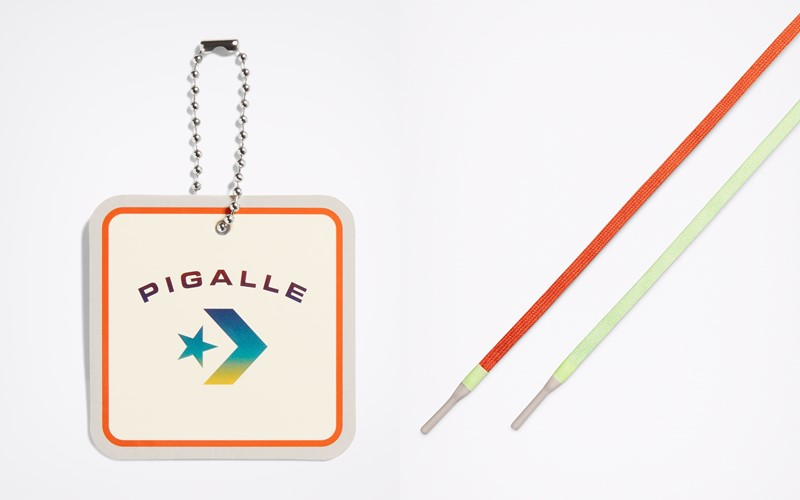 Кеды Converse x Pigalle - Кастомный ярлык Pigalle из резины и шнурки в тон кед