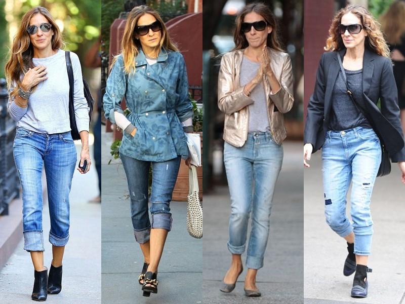 Повседневный звёздный стиль Сары Джессики Паркер - Укороченные джинсы