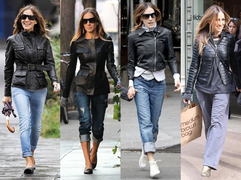 Повседневный звёздный стиль Сары Джессики Паркер - Чёрные кожаные куртки