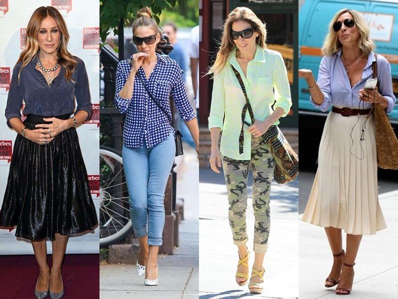 Повседневный звёздный стиль Сары Джессики Паркер - Базовые рубашки