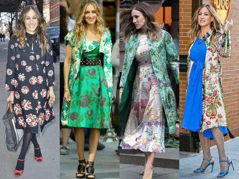 Повседневный звёздный стиль Сары Джессики Паркер - Пальто с цветочным принтом