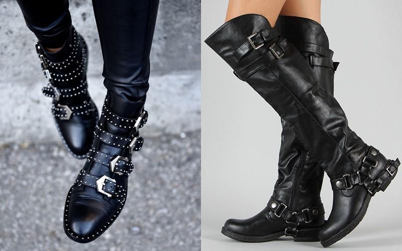 5 антитрендов в женской обуви 2020 - рокерские (байкерские) сапоги с цепями и заклёпками