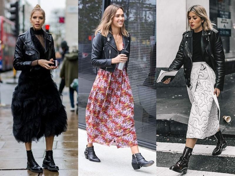 Как носить тяжёлую грубую обувь с платьем и юбкой - кожаная куртка косуха