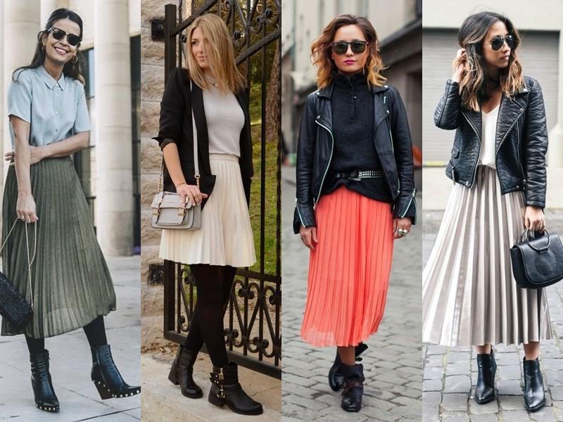 Как носить тяжёлую грубую обувь с платьем и юбкой - плиссированная юбка