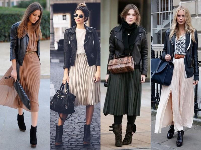 Как носить тяжёлую грубую обувь с платьем и юбкой - юбка плиссе