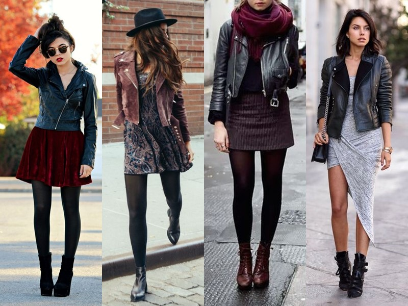 Как носить тяжёлую грубую обувь с платьем и юбкой - кожаная куртка