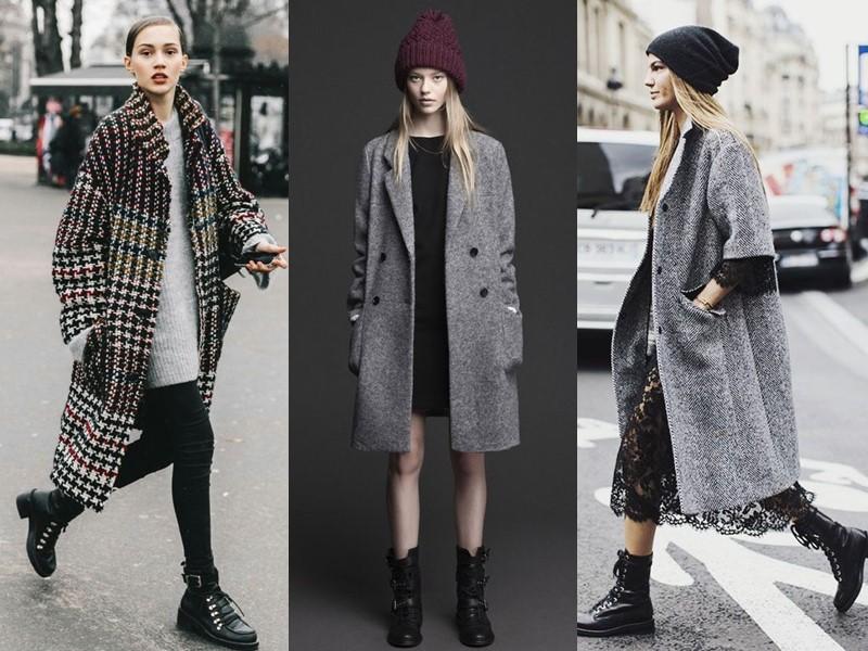 Как носить тяжёлую грубую обувь с платьем и юбкой - пальто оверсайз