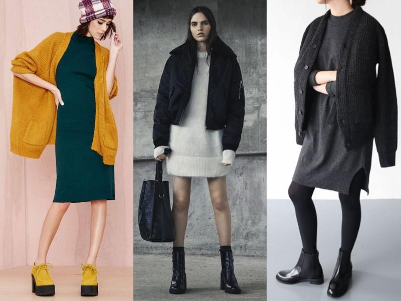 Как носить тяжёлую грубую обувь с платьем и юбкой - трикотажное платья свитер до колена