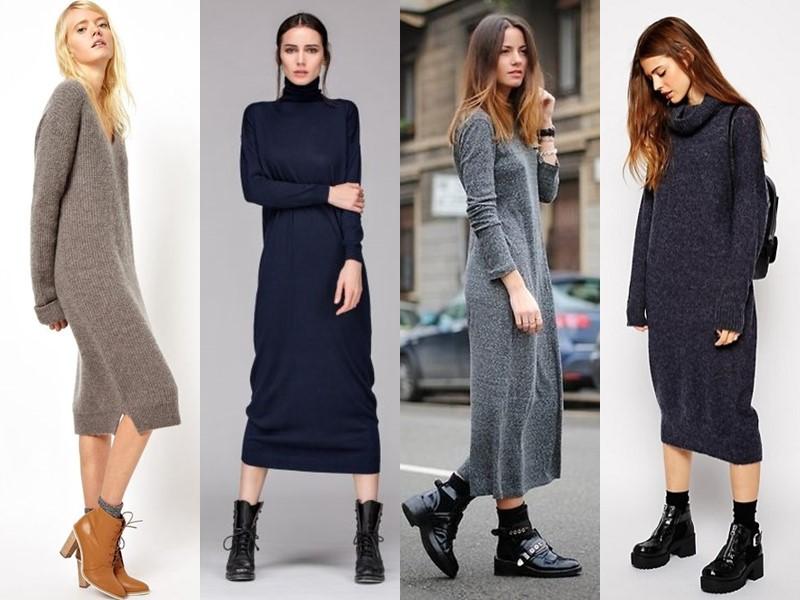 Как носить тяжёлую грубую обувь с платьем и юбкой - длинное платья свитер