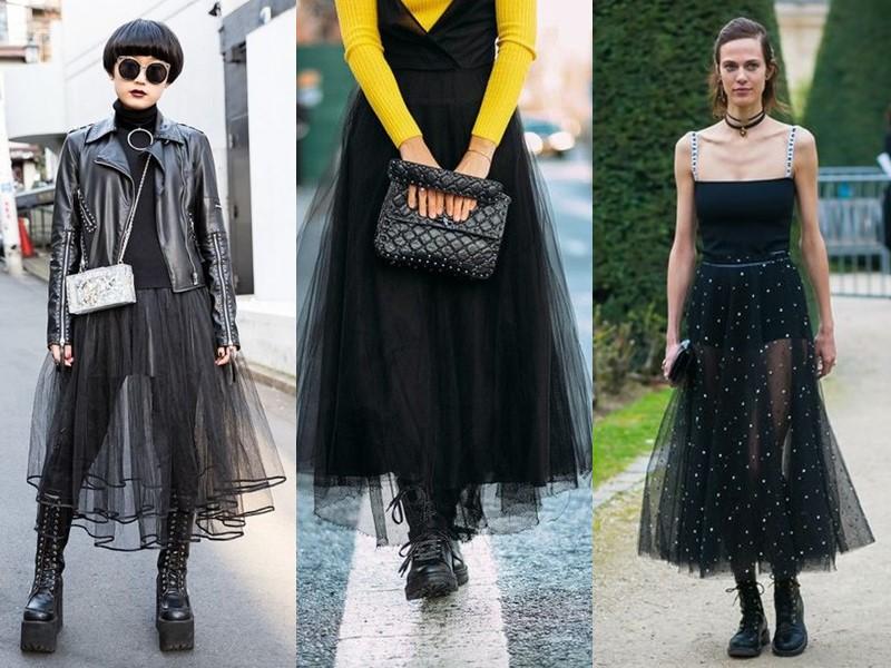 Как носить тяжёлую грубую обувь с платьем и юбкой - черное тюлевое платье и юбка