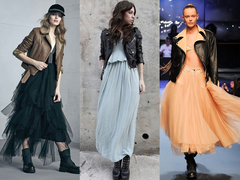 Как носить тяжёлую грубую обувь с платьем и юбкой - длинное тюлевое платье