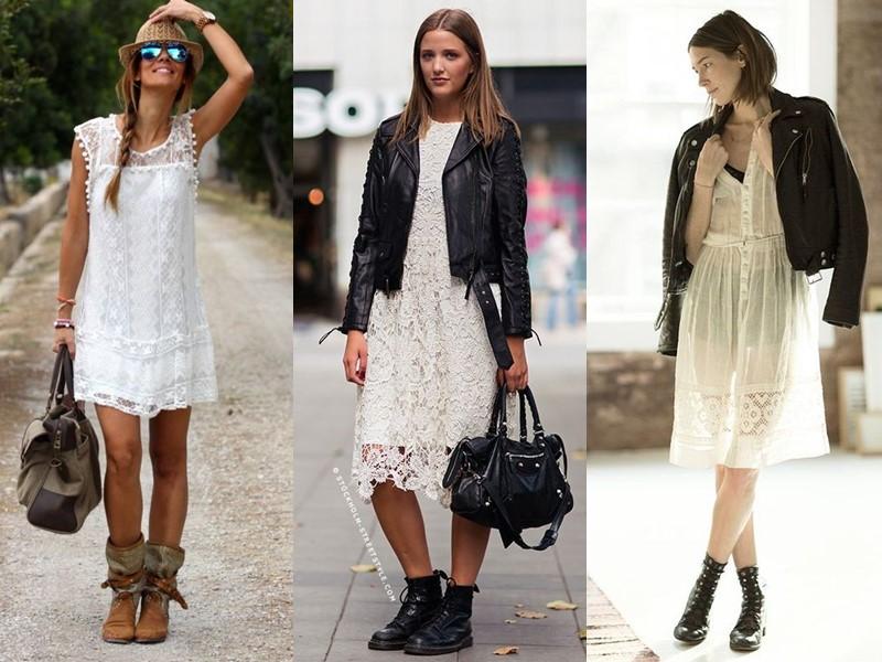 Как носить тяжёлую грубую обувь с платьем и юбкой - белое кружевное платье