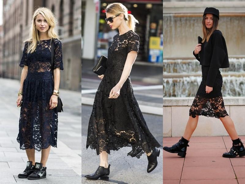 Как носить тяжёлую грубую обувь с платьем и юбкой - черное кружевное платье