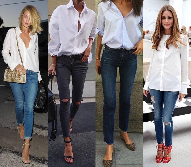 С чем стильно носить белую рубашку - с джинсами скинни