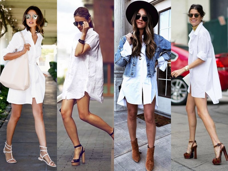 С чем стильно носить белую рубашку - с босоножками или ботфортами